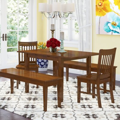 Andover Mills Balfor 5 Piece Extendable Solid Wood Breakfast Nook Dining Set