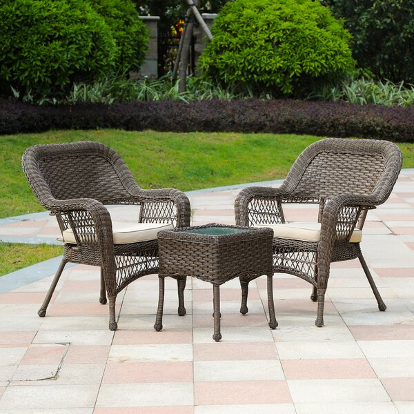 Maryville 3 Piece Rattan Seating Group with Cushions by Bay Isle Home