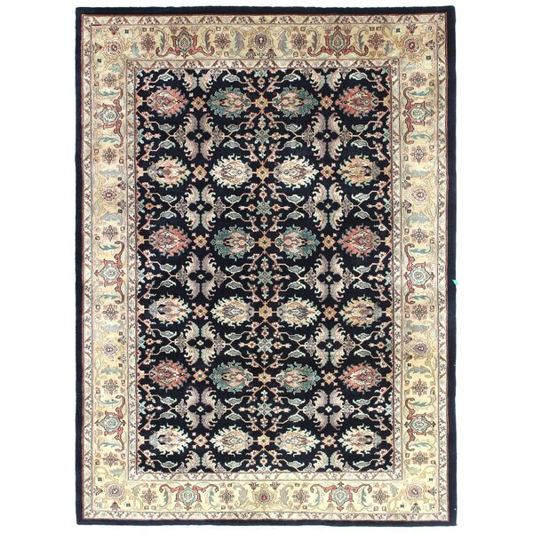 One-of-a-Kind Bardin Hand-Woven Wool Black Area Rug by Canora Grey