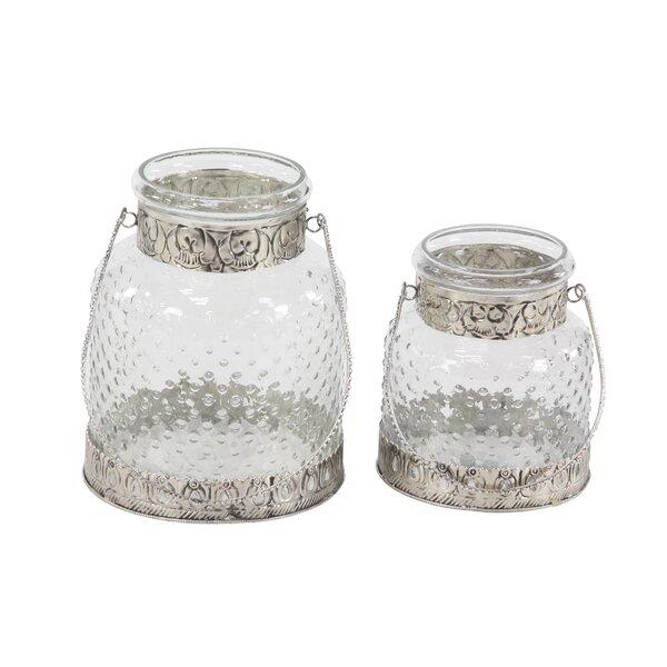 Rustic 2 Piece Glass Votive Set by Ophelia & Co.