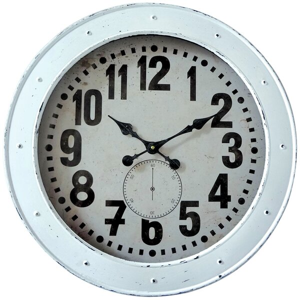 Oversized White Vintage Wash 23.75 Wall Clock by Longshore Tides