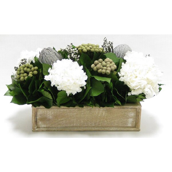 Mixed Floral Arrangement in Wooden Short Rectangle Container by Rosdorf Park