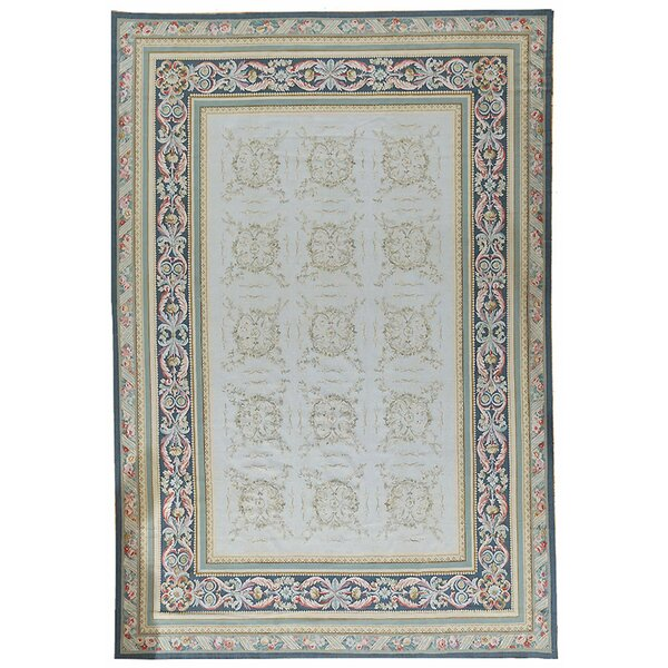 Aubusson Hand-Woven Wool Beige/Blue Area Rug by Pasargad