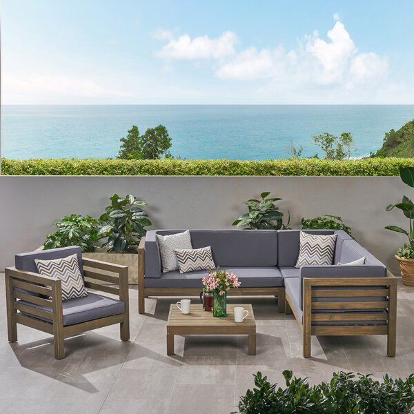 Kristin Outdoor 5 Piece Sectional Seating Group with Cushions by Corrigan Studio