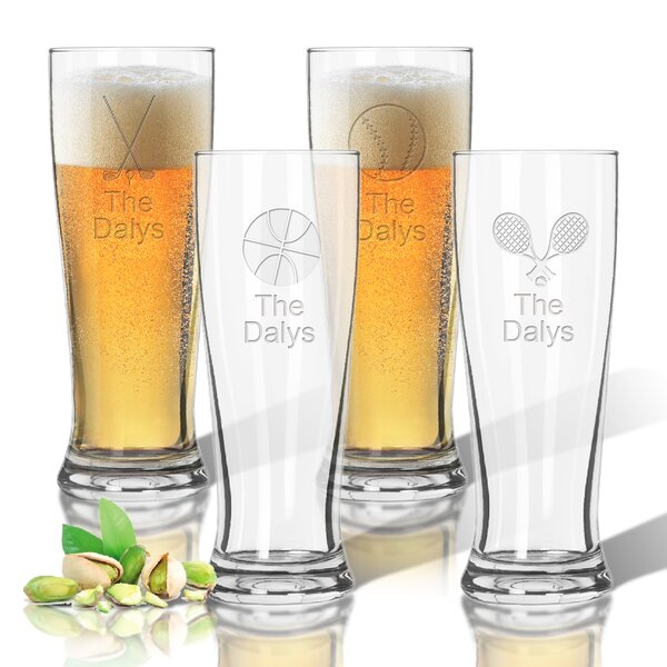 Tritan Sports 4 Piece 14 oz. Pilsner Glass Set by Carved Solutions