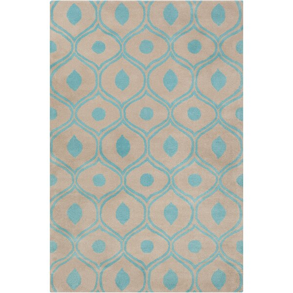 Willa Hand Tufted Wool Beige/Blue Area Rug by Corrigan Studio