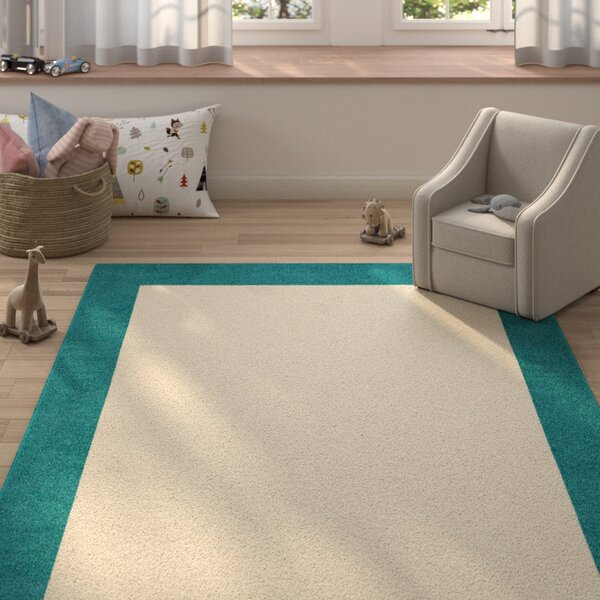 Degen Hand Tufted Wool Teal/Beige Area Rug by Zoomie Kids