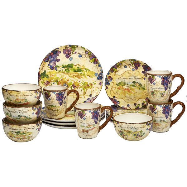 Carmel 16 Piece Dinnerware Set, Service for 4 by F