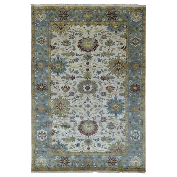 One-of-a-Kind Shumaker Hand-Woven Wool Blue/Beige Area Rug by Isabelline