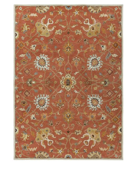 Topaz Butter Peanut Floral Area Rug by World Menagerie
