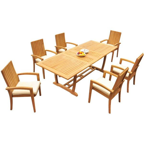 Werner 7 Piece Teak Dining Set Bayou Breeze W001959737