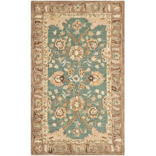 Torney Hand-Tufted Wool Teal/Camel Area Rug by Charlton Home