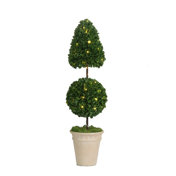 Pre-Light Faux Cone and Ball Floor Boxwood Topiary by Ivy Bronx