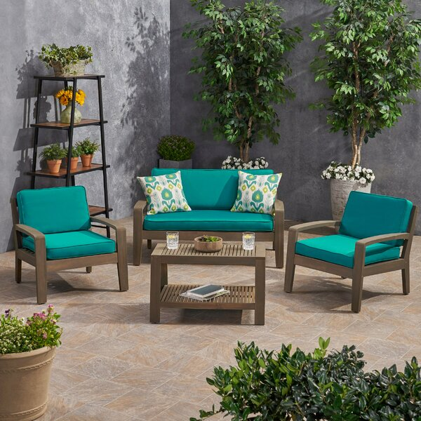 Smart Acacia Wood 4 Piece Sunbrella Sofa Seating Group with Sunbrella Cushions by Rosecliff Heights