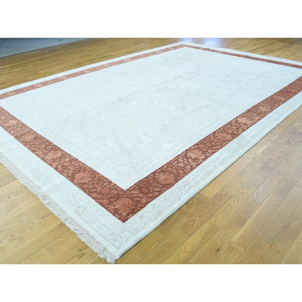 One-of-a-Kind Beason Half Half Handwoven Ivory Wool Area Rug by Isabelline