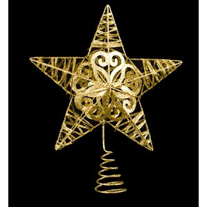 metal glittered star tree topper set of 2 - Christmas Tree Tops