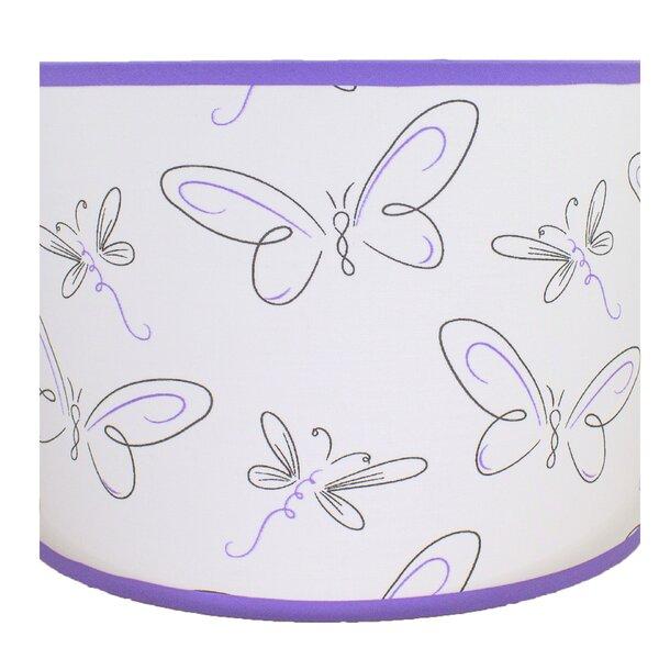 9 H Cotton Drum Lamp Shade ( Spider ) in Lavender/Black