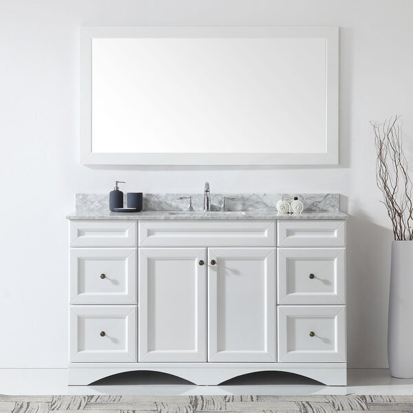Kauffman 59.1 Single Bathroom Vanity Set With White Marble and Mirror by Alcott Hill