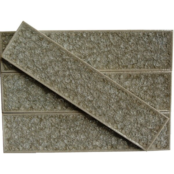 Roman Selection 2 x 8 Glass Subway Tile in Iced Tan by Splashback Tile