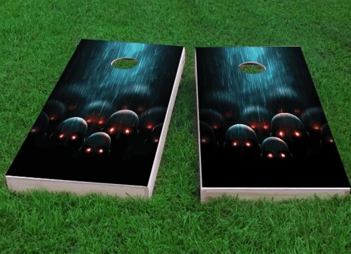 Red Eyed Apocalyptic Zombies Cornhole Game (Set of 2) by Custom Cornhole Boards