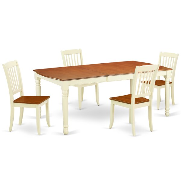 Kolby 5 Piece Extendable Solid Wood Dining Set by August Grove