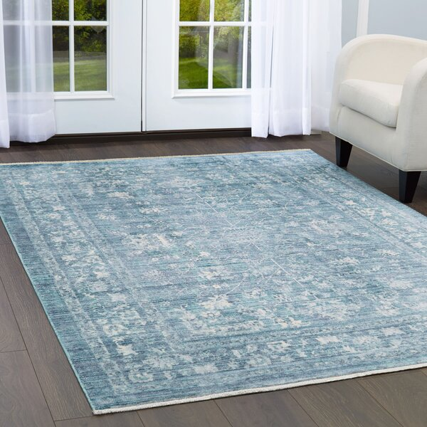 Artisan Border Viscose Blue Area Rug by Nicole Miller