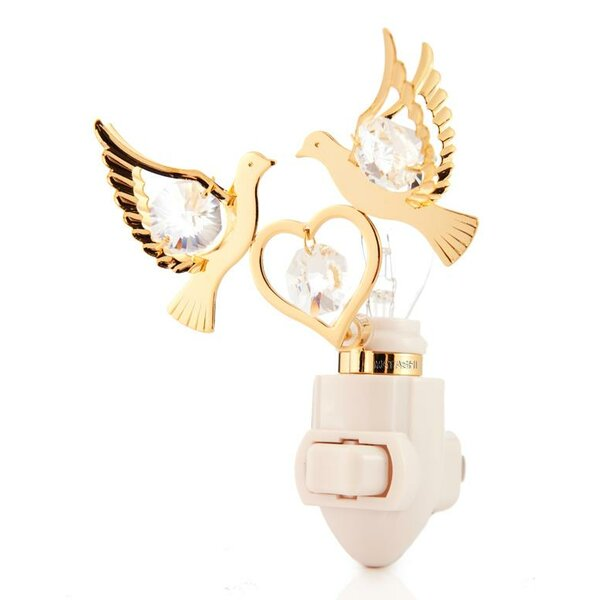 24K Gold Plated Love Doves Night Light by Matashi Crystal