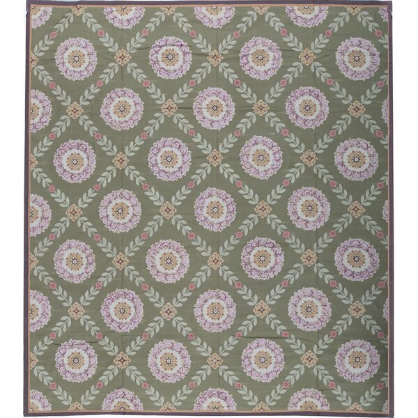 One-of-a-Kind Aubusson Renaissance Hand-Knotted Green 12'10 x 13'6 Wool Area Rug