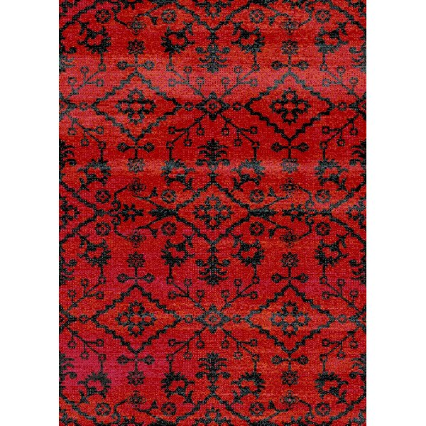 Auston Anti-Bacterial Red/Black Indoor/Outdoor Area Rug by Bungalow Rose