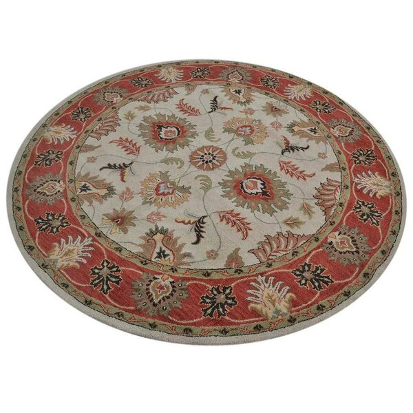 Auger Hand-Tufted Wool Cream/Red Area Rug by Bloomsbury Market