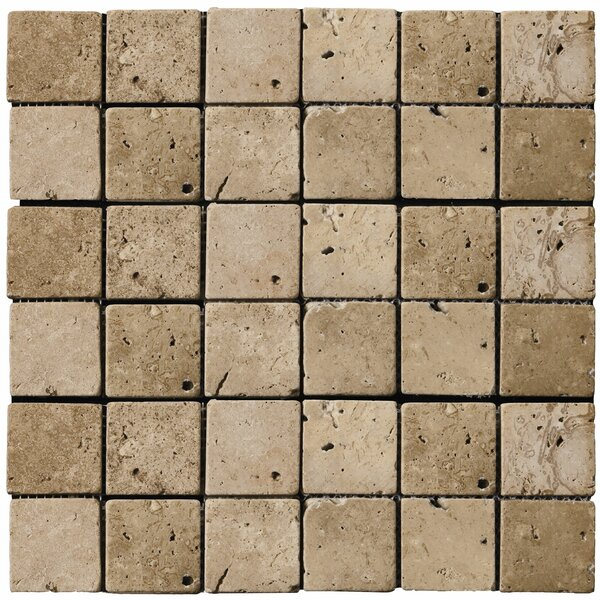 Travertine 2 x 2/12 x 12 Mosaic Tile in Mocha by Emser Tile