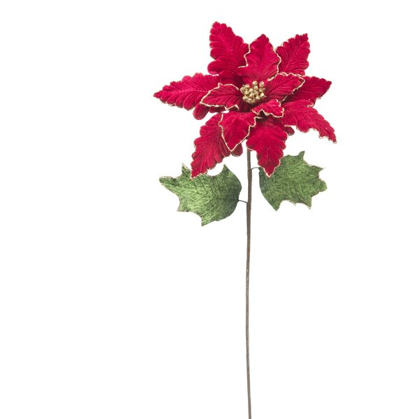 Christmas Sequin Christmas Poinsettia Stem (Set of 12) by Three Posts