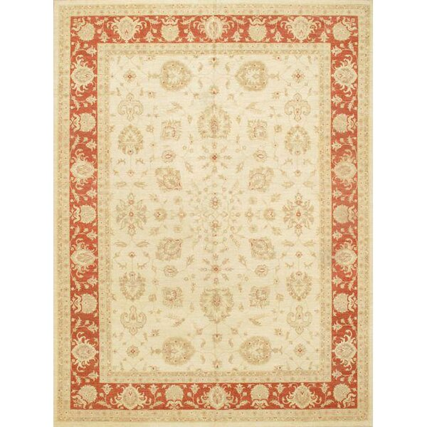 Hand Knotted Wool Ivory/Coral Area Rug by Pasargad NY