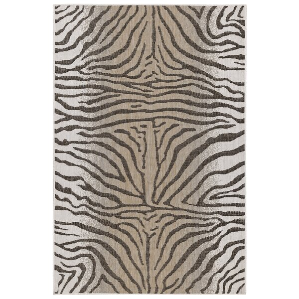 Osman Zebra Sand/Gray Indoor/Outdoor Area Rug by World Menagerie