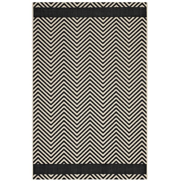 Electra Chevron Black/Beige Indoor/Outdoor Area Rug by Wrought Studio
