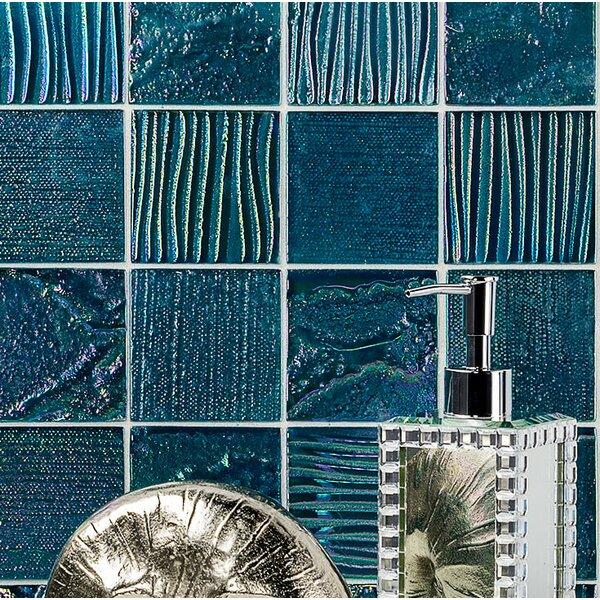Marina Iridescent 3 x 3 Glass Mosaic Tile in Aqua by Splashback Tile