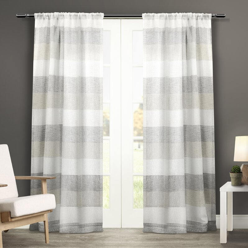 Bartow Striped Sheer Rod Pocket Curtain Panels