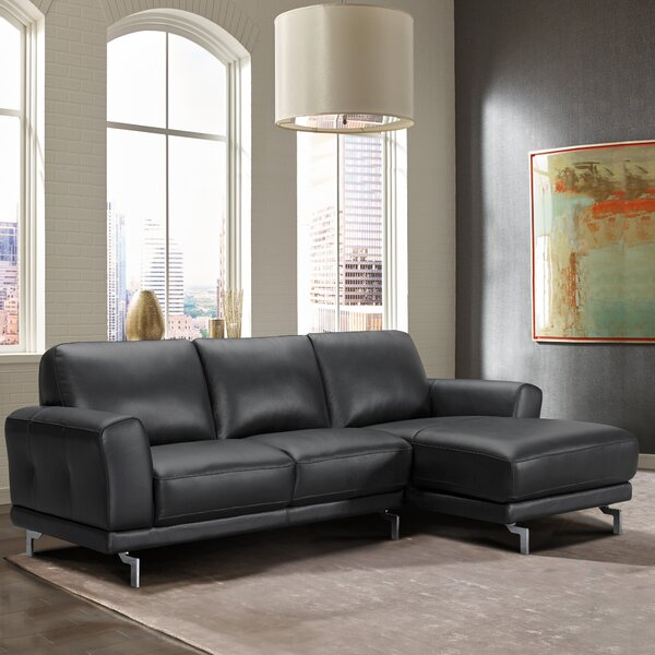 Randalholme Contemporary Leather Sectional by Orren Ellis