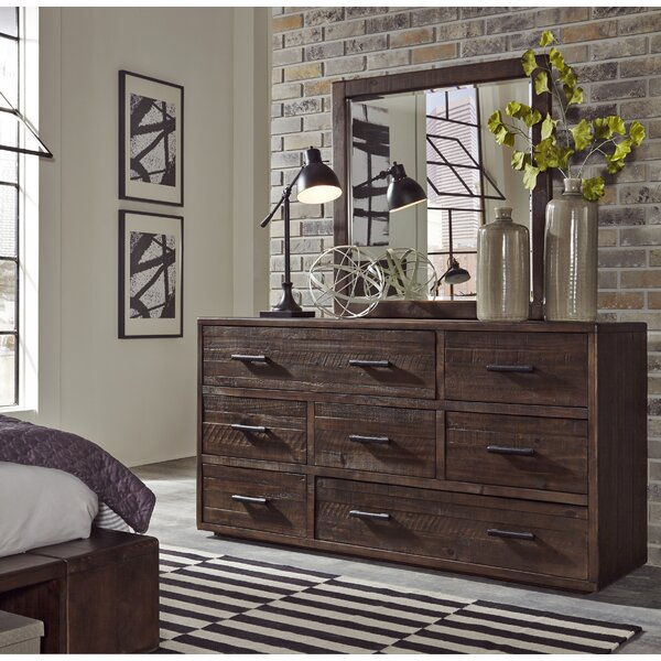 Ballesteros Seven Drawer Solid Wood Dresser In Espresso Pine by Millwood Pines