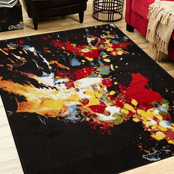 Andreasen Abstract Splash Black/Red/Yellow Area Rug by Wrought Studio