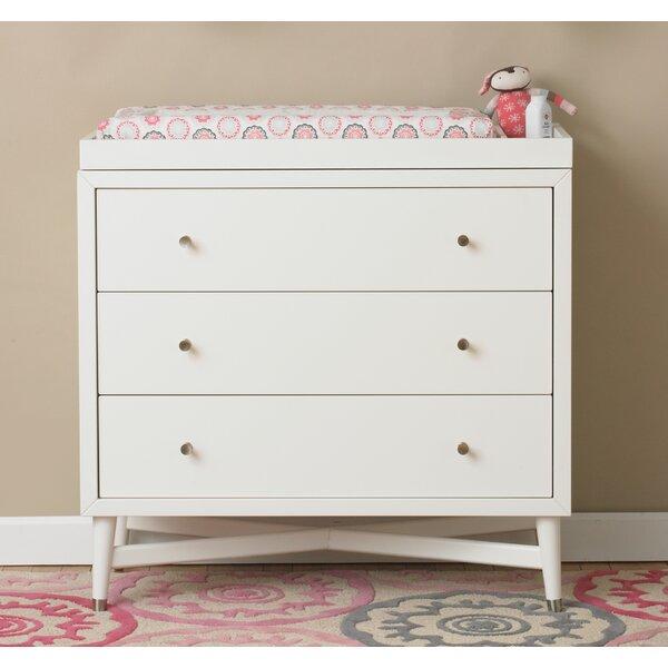 Mid Century 3 Drawer Changing Dresser In French White By Dwellstudio.