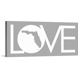 Florida Love State by Kate Lillyson Textual Art on Gallery Wrapped Canvas by Great Big Canvas