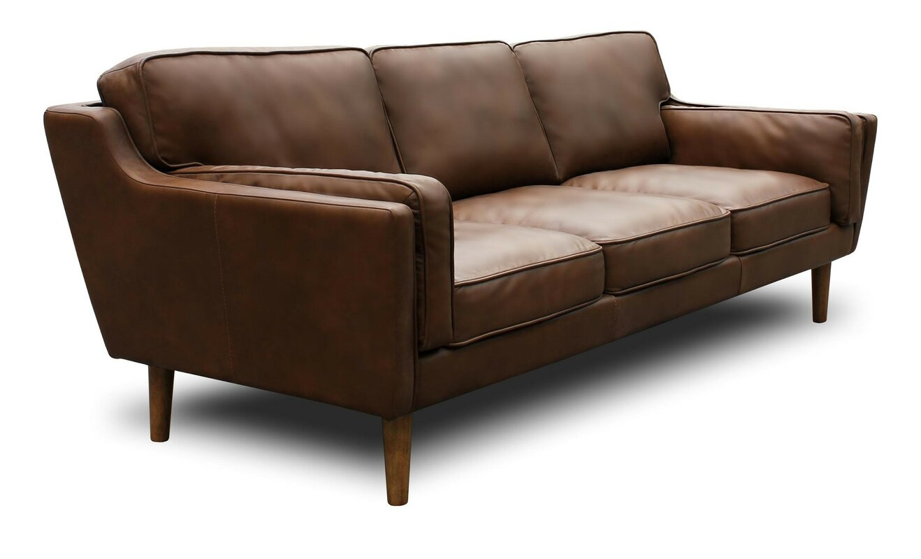 Union Rustic Kaufman Mid Century Modern Leather Sofa