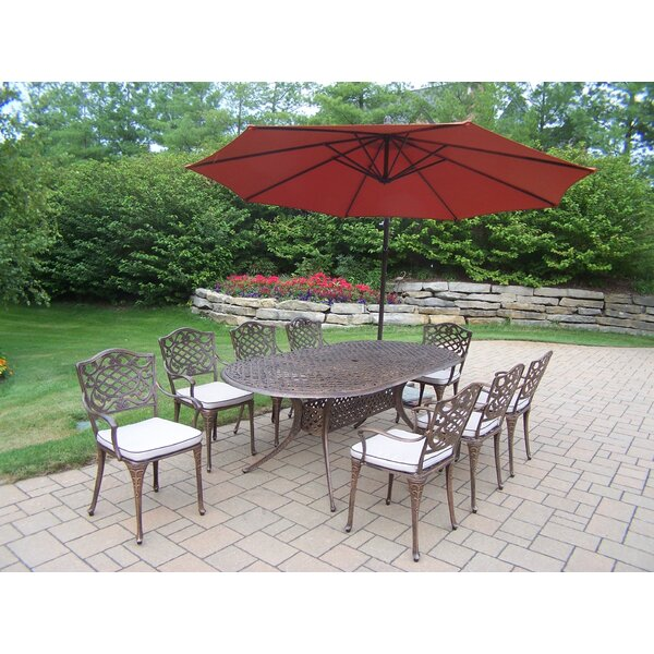 Mississippi 9 Piece Dining Set with Cushions and Umbrella by Oakland Living
