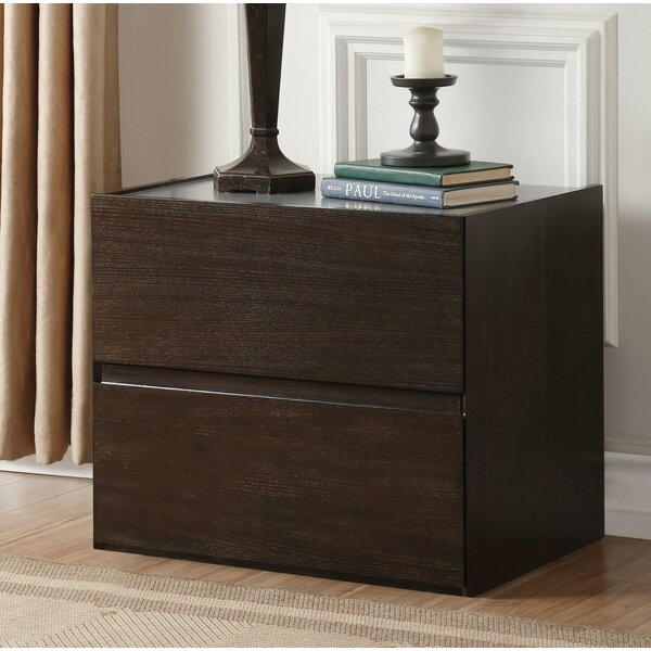 Quanah Contemporary Style Wooden 2 Drawer Nightstand by Latitude Run