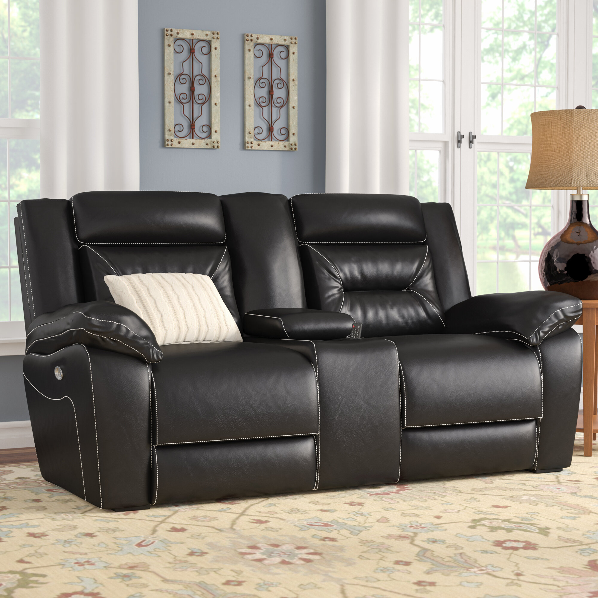 Andover Mills Simmons Upholstery Chadbourne Power Double Motion Console  Reclining Sofa | Wayfair