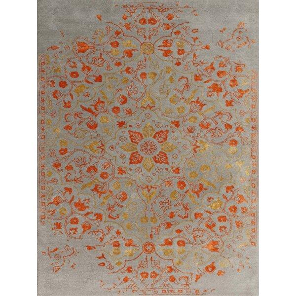 Hadassah Hand-Tufted Silver/orange Area Rug By Ophelia & Co..