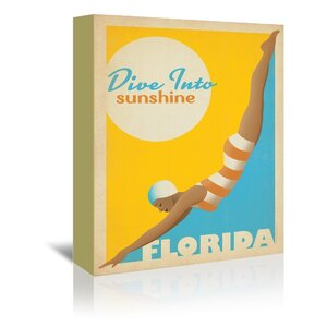 Dive into Florida Vintage Advertisement on Wrapped Canvas by East Urban Home