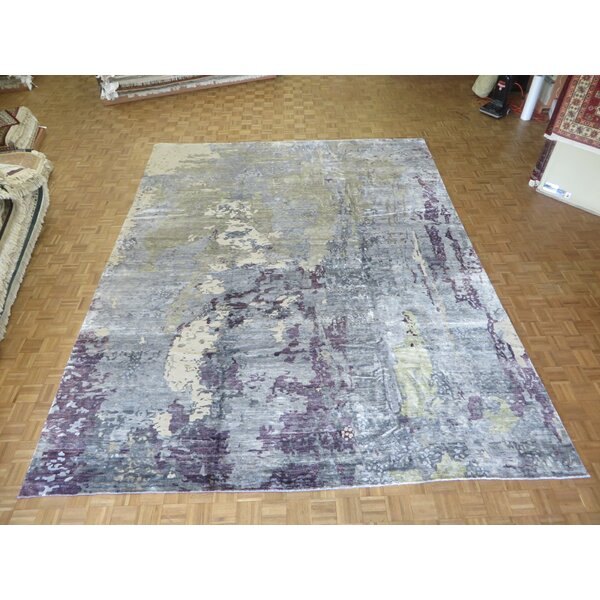 One-of-a-Kind Pellegrino Modern Abstract Hand-Knotted Sky Blue/Gray Area Rug by Bloomsbury Market