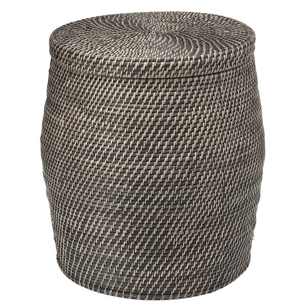 Stafford Rattan Storage Stool with Cotton Liner by Rosecliff Heights